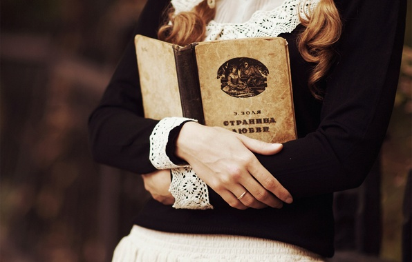 Picture girl, skirt, ring, blouse, book, braids, Emile Zola