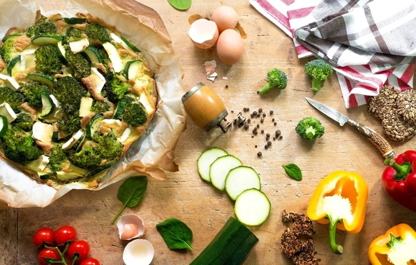Picture eggs, pepper, vegetables, pizza, tomatoes, spices, broccoli, cherry, cuts, cooking, zucchini, Basil, vegetarian