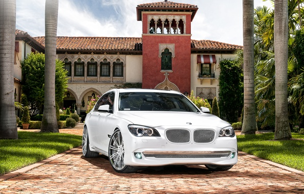 Picture white, the sky, trees, house, tuning, BMW, BMW, mansion, tuning, seven, the seventh series of …