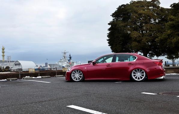 Picture red, lexus, red, Lexus, LS460, low, luxury, stance