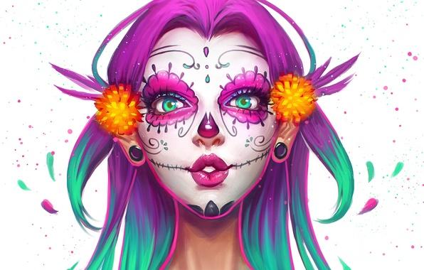 Picture girl, face, skull, beauty, makeup, art, Sugar Skull