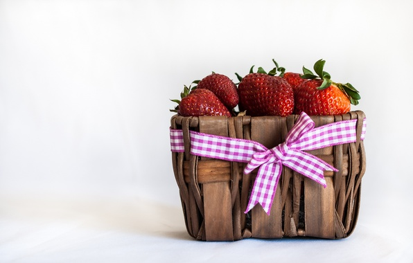 Picture berries, strawberry, tape, bow, basket, red
