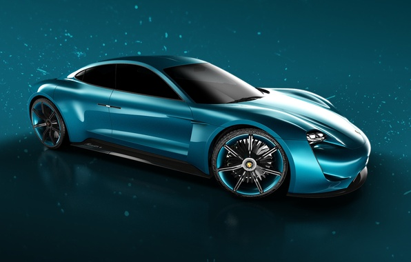 Picture car, blue, rendering, Porsche Mission E