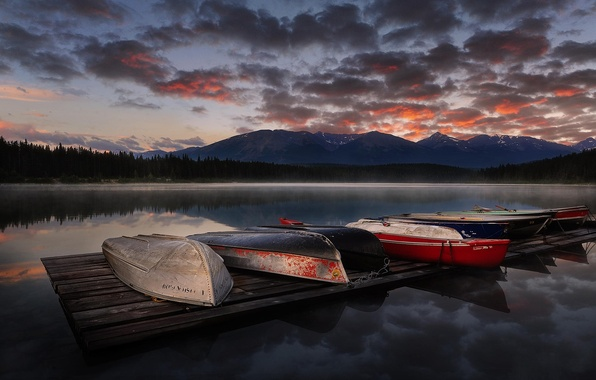 Picture landscape, sunset, mountains, nature, lake, boats
