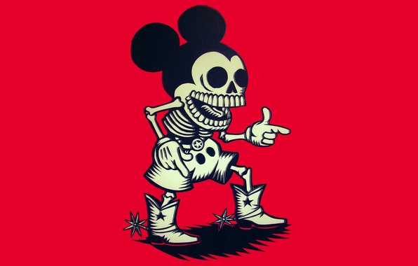 Picture skeleton, cowboy, Mickey Mouse