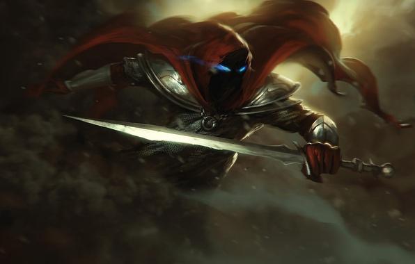 Picture eyes, weapons, sword, warrior, art, hood, armor, cloak, armor