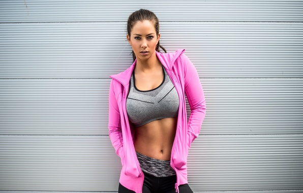 Picture look, girl, face, background, hair, tummy, braid, sports wear