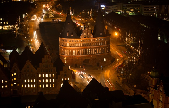 Picture night, lights, tower, home, gate, Germany, Lubeck