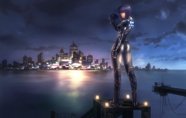 Picture water, girl, the city, gun, ghost in the shell, Kusanagi Motoko