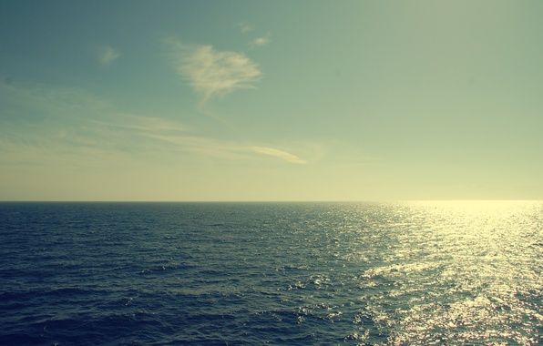 Picture water, the sun, clouds, Sea, horizon, the reflection, sea