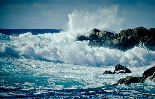 Picture sea, wave, foam, water, drops, squirt, storm, rock, the ocean, rocks, shore, landscapes, wave, drop, ...