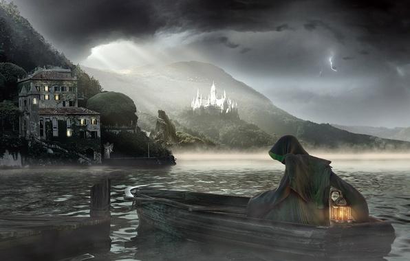 Picture sea, fog, death, boat