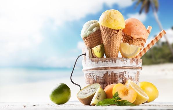 Picture beach, ice cream, fruit, horn, dessert, sweet, sweet, fruits, dessert, ice cream, tropical