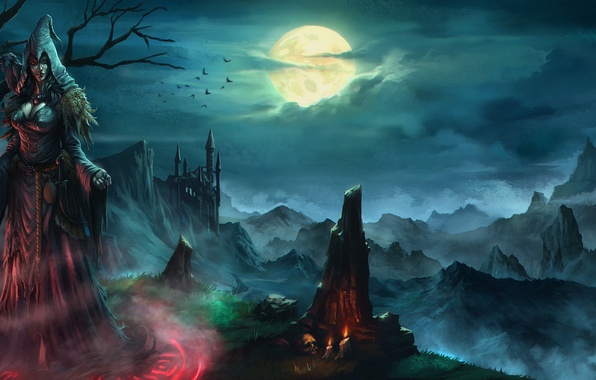 Picture the sky, look, birds, castle, rocks, skull, candles, rope, hands, dress, witch, Raven, pouch