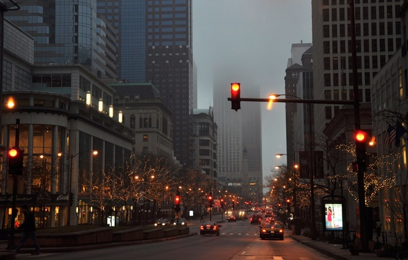 Picture auto, machine, the city, fog, overcast, street, the evening, traffic light, Chicago