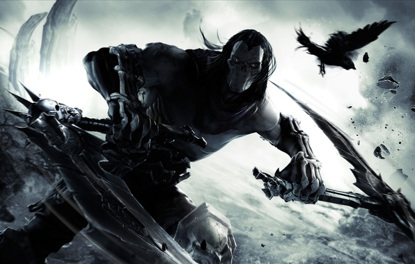 Picture Raven, Dust, mask, bones, Death, rider, Blow, THQ, horseman of the Apocalypse, braids, death, Darksiders …