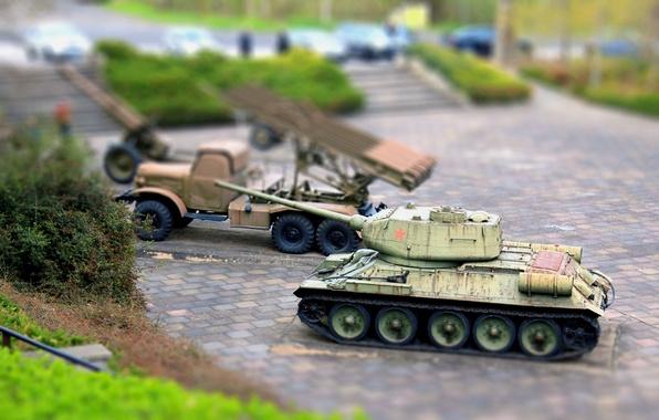 Picture Weapons, Tank, T-34, tilt shift, T34, Katyusha, BM-31-12