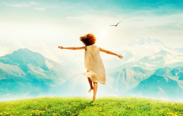 Picture the sky, grass, the sun, joy, mountains, mood, bird, meadow, girl, dandelions, Heidi, Alpine fairytale