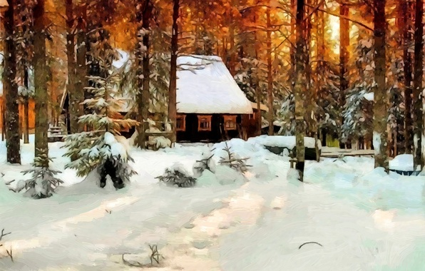Picture winter, forest, snow, trees, house, oil, picture, canvas