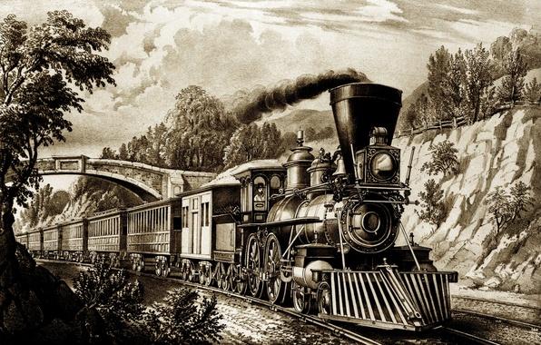 Picture road, train, the engine, picture, the car, iron, history, retro, train