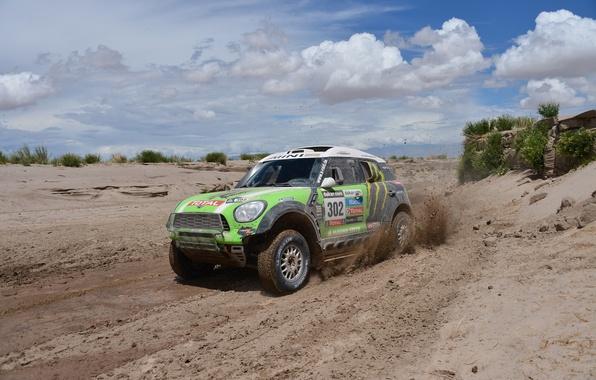 Picture Clouds, Green, Dirt, Mini Cooper, Dakar, MINI, Mini Cooper