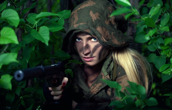Picture color, girl, style, gun, weapons, costume, khaki, girl, combat, military, style, military, muffler, scout, scout, …