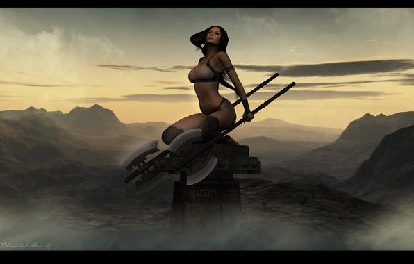 Picture girl, warrior, axe, Eternal Worrior