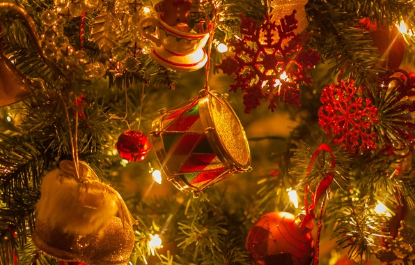 Picture decoration, lights, Christmas tree