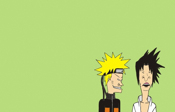 Picture minimalism, naruto, the trick, naruto, green background, Beavis and Butt-head, Beavis and Butthead, dudes