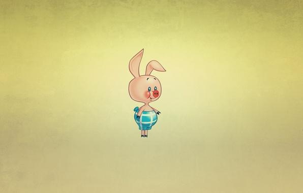 Picture smile, minimalism, Winnie The Pooh, pig, Piglet, Winnie-the-Pooh