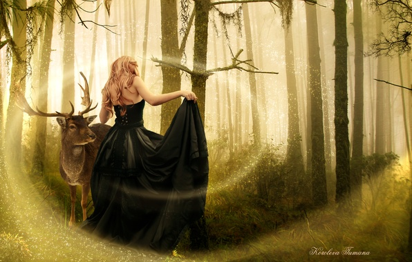 Picture forest, girl, trees, animal, magic, back, dress, black, art