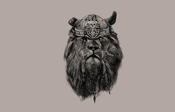 Picture look, Leo, mane, horns, helmet, braids, Viking