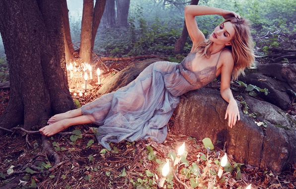 Picture light, trees, model, garden, figure, dress, actress, hairstyle, lies, light bulb, photoshoot, posing, sexy, Rosie …