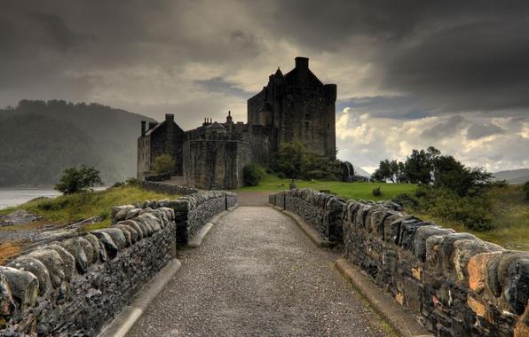 Picture castle, rain, twilight, Eilean donan