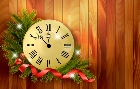 Picture branches, time, holiday, watch, vector, New year, ribbon, midnight