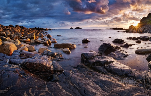 Picture sea, the sky, the sun, clouds, sunset, shore, England, Michael Breitung