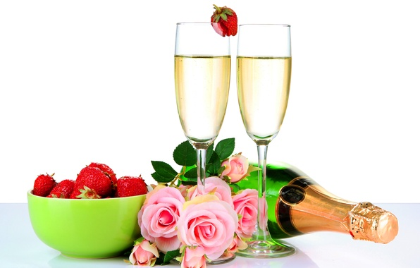 Picture flowers, roses, glasses, strawberry, champagne