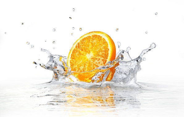 Picture water, squirt, white background, water, orange slice, white background, sprays, orange slice