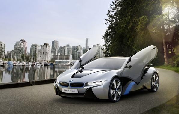 Picture road, machine, water, the city, door, BMW i8 concept