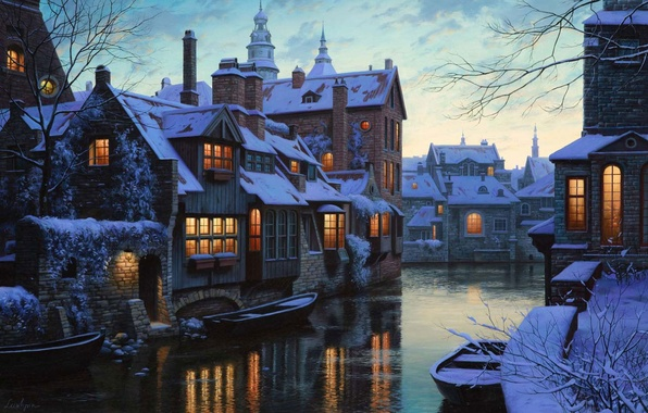 Picture winter, snow, lights, river, home, boats, Belgium, twilight, painting, twilight, river, winter, snow, houses, Belgium, …