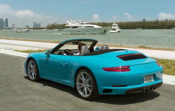 Picture road, auto, yacht, 911, Porsche, Porsche, back, Cabriolet, Carrera S