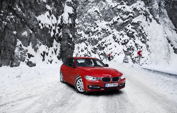 Picture winter, road, snow, mountains, BMW, BMW, red, red, F30, The 3 series, 320d
