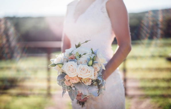 Picture flowers, roses, bouquet, dress, the bride