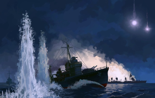 Picture sea, night, lights, figure, explosions, ships, missiles, art, the battle, The Pacific ocean, sea battle, …
