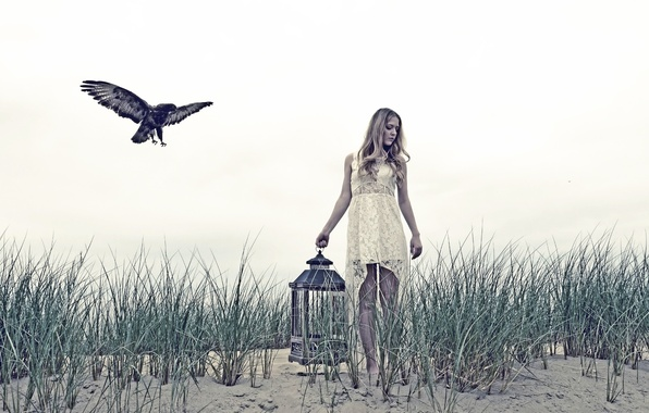 Picture girl, bird, cell