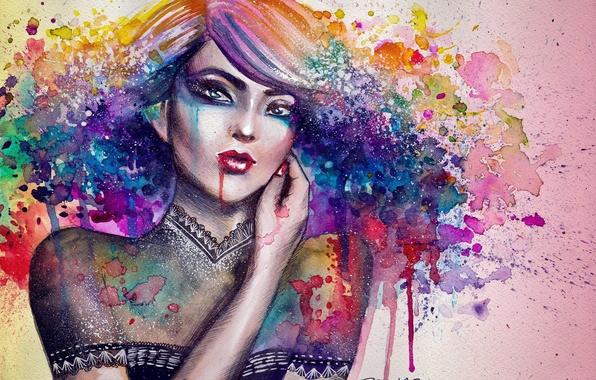 Picture girl, paint, figure, hand, portrait, art, blots, canvas, nimae-rian
