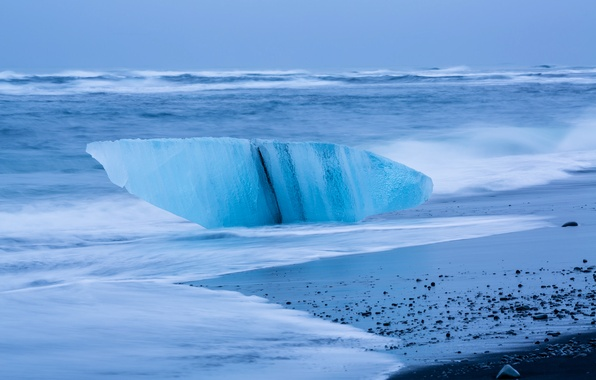 Picture ice, sea, wave, storm, shore, floe, Iceland, lump