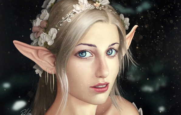 Picture look, flowers, face, background, hair, art, elf, Fantasy, ears, shoulders
