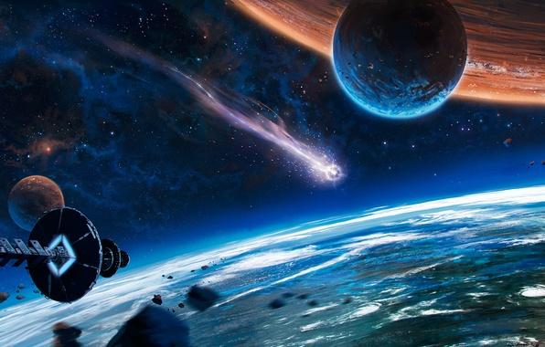 Picture space, fiction, ship, planet, comet, orbit, spaceship