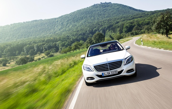 Picture movement, hills, Mercedes-Benz, speed, white, AMG, front, Stuttgart, S Class, S500